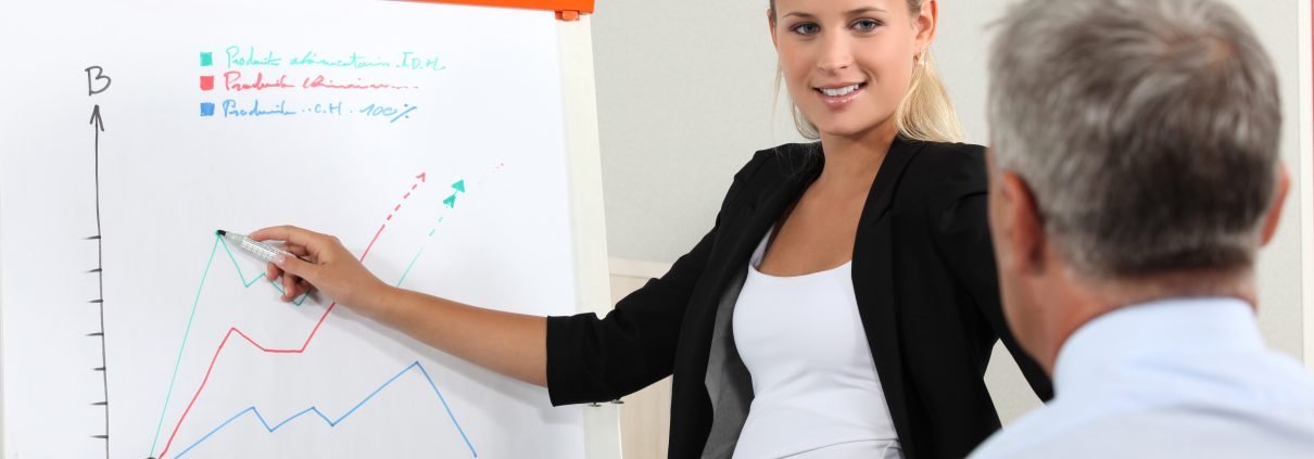 woman in front of group demonstrating presentation skills